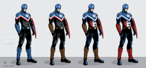 Captain America costume redesigns by Tloessy