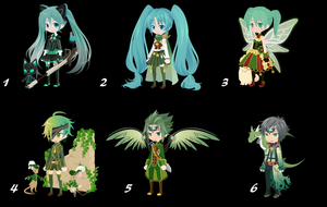 100 themed selfy adopts: day 6 Green  [OPEN] by AlbinoAdopts