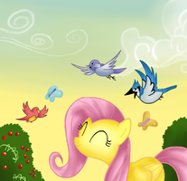Flattershy and birds by Ricky125