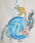 Mermaid and Turtle by ceciosorio