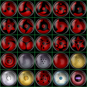 The many powerful eyes of the Naruto Universe by PalettePix