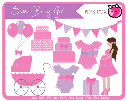 Sweet baby girl clip art by pinkfoxdesign