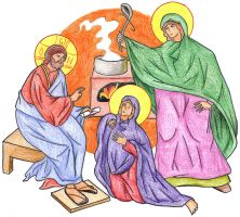 Luke 10:38-40 (Mary and Martha) by Parastos