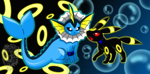 Zee, my Vaporeon and Ro, my Umbreon by TheBig-ChillQueen