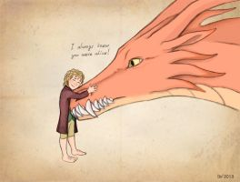 Bilbo and Smaug by Lightning-W0lf