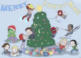 The Avengers Babies Christmas Card by SilasSamle