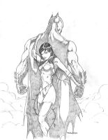 Batman and POISON ivey sketch by Sajad126