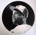 J Dilla painted on vinyl record by vantidus