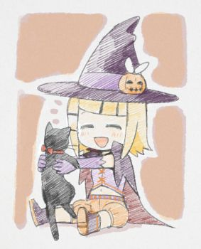 the cute witch and her black cat by grimay