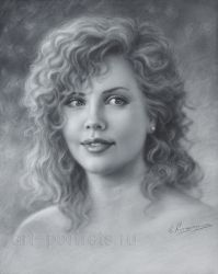 Portrait of a young Charlize Theron by Dry brush by Drawing-Portraits