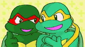 doodle Raph and Mikey-chat- by koju327