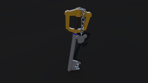 Keyblade 3D Render - Sora's Keyblade Standing Up by HaakonHawk