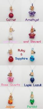 Steven Universe Crystal Gem bottle necklaces by FrozenNote