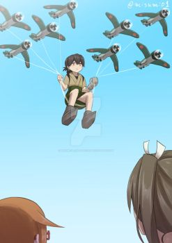 Taiyou fly in the sky by misumi-illustration