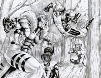 Sabretooth vs wolverine,Night crawler and Beast by ashkel