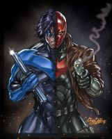 Nightwing v Redhood Colors by CdubbArt