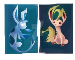 Leafeon and Glaceon by AshKays