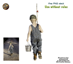 small boy with fishing rod and bucket - PNG by darkmoon1968