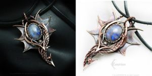 Dragon pendant Copper and Moonstone by LUNARIEEN