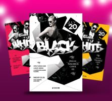 All Black- Black and White Party Flyer by satgur
