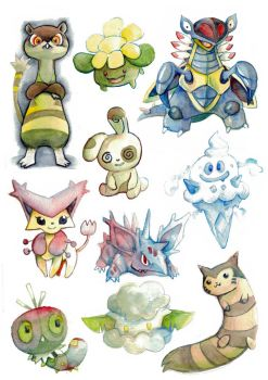 misc watercolor pokemon practise 08 by k-hots