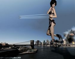 Giantess Adriana Lima Emerges in The Big Apple by GiantessStudios101