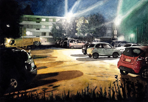 a parking lot at night by Zelimedron