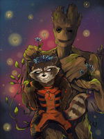 Rocket and Groot by parami96