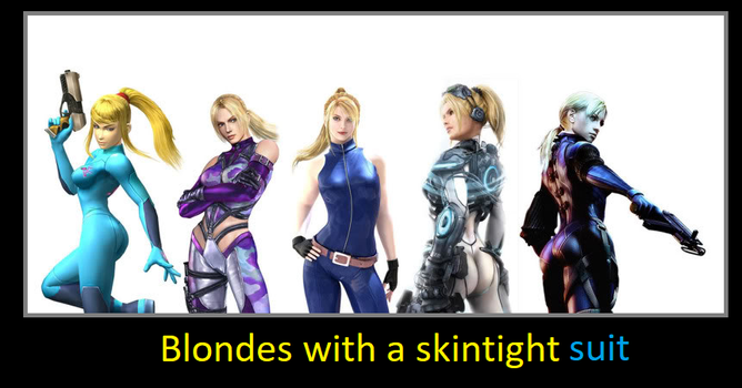 Blondes with a skintight suit by KeybladeMagicDan