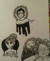 Inktober Day 5+6+7: Markiplier, Aria and a House by Kittygoesrawrrr