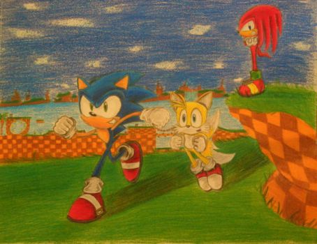 Team Sonic in Green Hill Zone by SonicManiac23