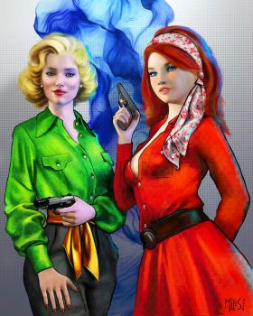 Agents Stacy Steward and Susan Harris - 1960 by knottysilkscarf