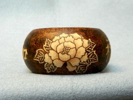 Peony flower bangle bracelet wooden pyrography by YANKA-arts-n-crafts