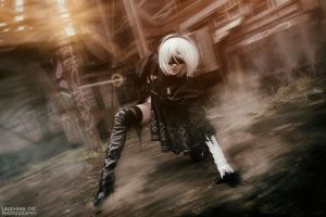 NieR: Automata YoRHa No.2 Type B Battle slide by Hollitaima