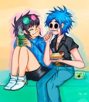 GORILLAZ- Noodle and 2D by Cak3Monst3r