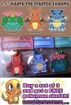 Kanto Starter Pokemon Charms by Silent-Neutral