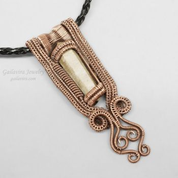 Copper and Sandstone Crystal Point Pendant by Gailavira