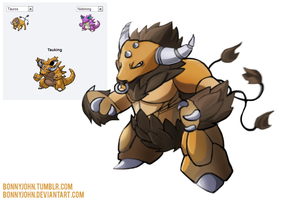 Pokemon Fusion 5 - TAUKING by BonnyJohn