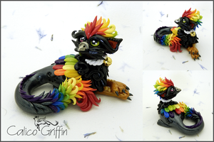 Arco the rainbow griffin - polymer clay by CalicoGriffin