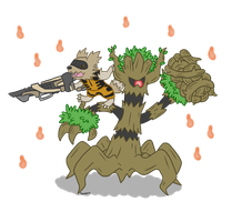 Rocket Zigzagoon and Groot the Trevenant
