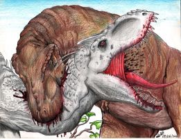 Indominus rex VS Tyrannosaurus rex by TheYahid