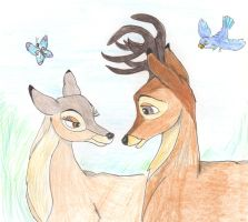 Bambi and Faline by greydeer2010