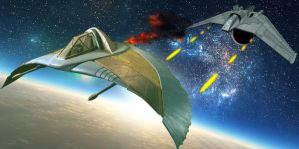 F-302 vs Goa'uld Death Glider by MurbyTrek