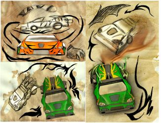 Mixed media attempt: race cars by Adam-Clowery