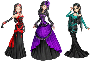 3 new gothic ladies.dolls by Bitterkawaii