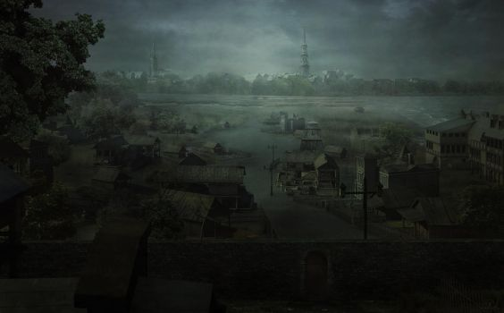 Old Greenwich NY - Lovecraftian Concept Art by mcrassusart