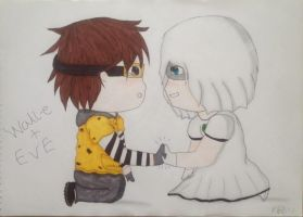 Chibi Wall-e and Eve~ by kyliesmiley1998