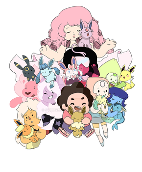 STEVEN AND THE EEVEES (COLORED) by Stick2mate