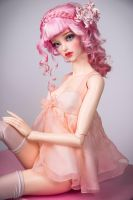 Pearl Blush chiffon babydoll dress by amadiz