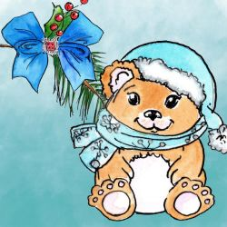 Bear And Ribbon Colour Clipart by GirlinDesign